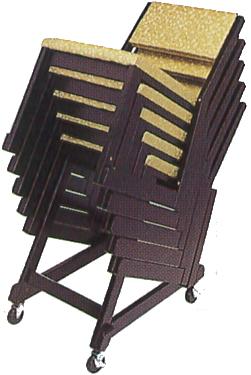 本堂用お詣り椅子・木製の専用台車の説明